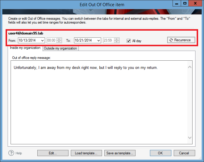 Managing out of office messages - Setting the time range and ...