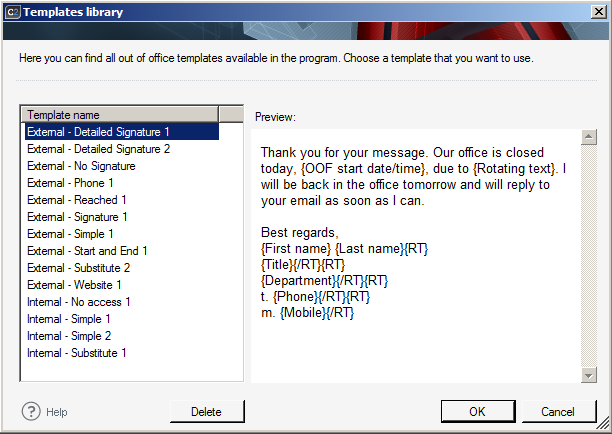 Managing out of office messages using the templates library loading a template from the library maxwellsz