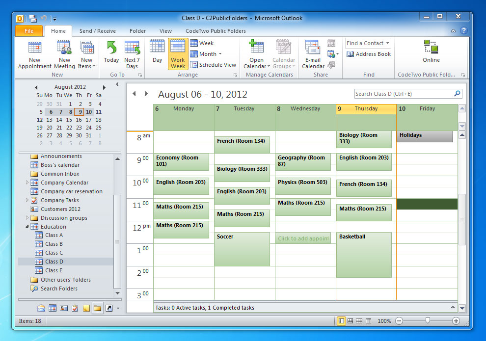 an example of a shared calendar used at school for a group schedule