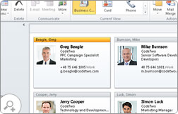Shared contacts in Outlook. They can be accessed and edited by other users.