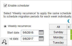 The built-in Scheduler lets you schedule when the migration is supposed to be triggered during the week.