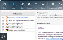 The administration panel of CodeTwo Email Signatures for Email Clients. The top menu allows you to quickly add, edit, remove and deploy policies. The preview section is in the middle.