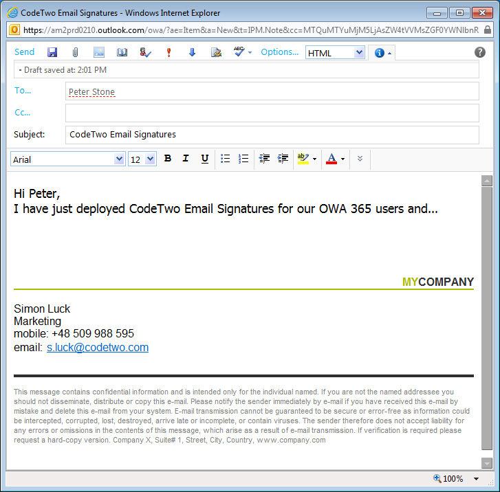 CodeTwo Email Signatures for Email Clients - Screenshots