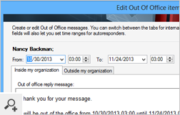 Out of Office item's preview for a selected user - the program allows you to quickly edit email templates or to choose predefined responses from the library. It will even let you configure recurrence for Out of Office Items.