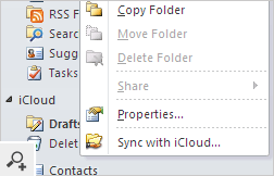 Syncing Outlook folder with iCloud