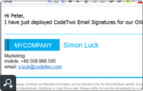 Email footer and disclaimer for OWA is stamped centrally by CodeTwo Email Signatures for Email Clients. There is no need to define any Hub Transport rules.