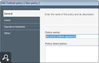 General policy settings - entering policy name and description.