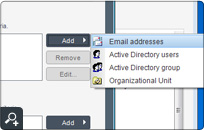 Selecting users the email policy should apply to is really simple. You can use either the SMTP addresses for that or, if you are connected to a Windows domain network, choose between selected Active Directory criteria.