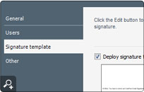 Defining a signature template option for email signatures. This part lets you access the WYSIWYG template editor and the library of footers.