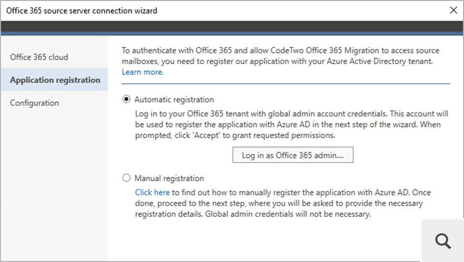 To connect to source or target Office 365 (Microsoft 365), CodeTwo Office 365 Migration is registered in the Azure Active Directory of each tenant that will be used in the migration process.