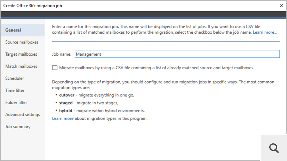 A migration job wizard allows you to choose source and target servers, select users for migration and apply various filters.