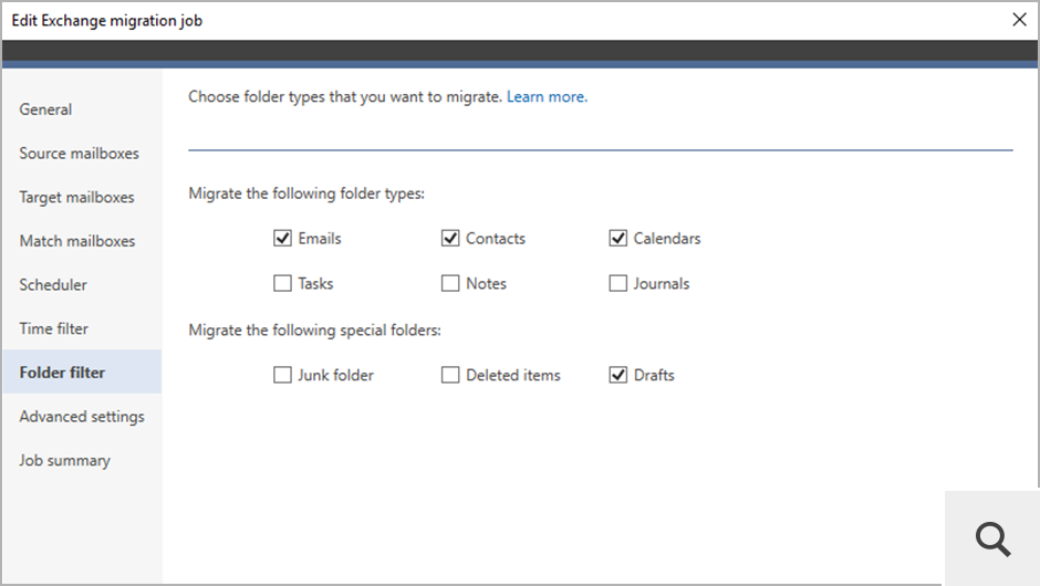 The Folder filter step allows you exclude certain types of items from being migrated, e.g. Junk Email or Deleted items.