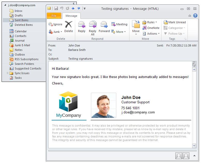 how to make sent folder on outlook