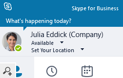 Users' photos visible in Skype for Business client.