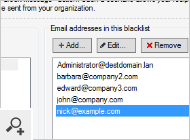 Once a user clicks the unsubscribe link in a message, his or her email address will be added to a blacklist. The administrator can also easily add or remove email addresses from the blacklist manually.