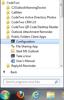 Opening the Add-in settings panel from the start menu.