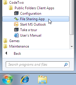 Launching File Share App from Windows Start menu.