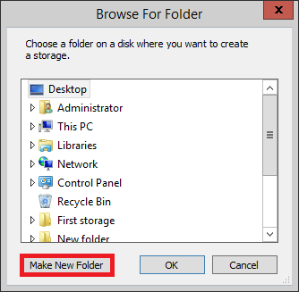 Backup - Choosing a storage folder.
