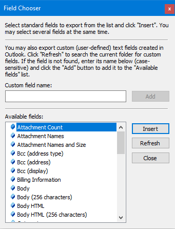 File chooser in CodeTwo Outlook Export