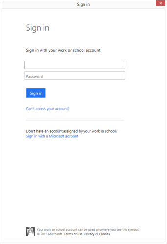 Office 365 log in pop-up.