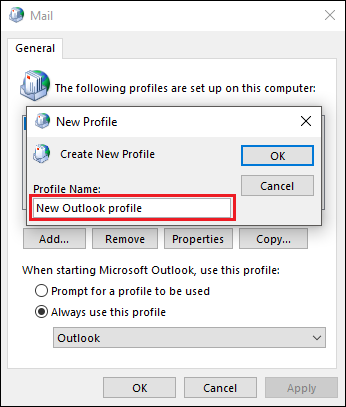 rename outlook profile in registry