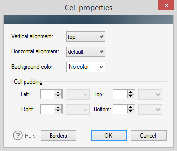 Editor - cell properties