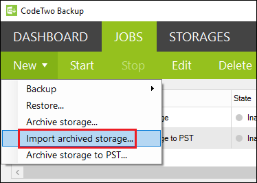 Backup create import archive job from Jobs tab