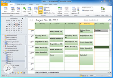 An example of a shared calendar used at school for a group schedule.