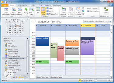 Shared Outlook calendar in CodeTwo Public Folders for managing resources – e.g. a car.