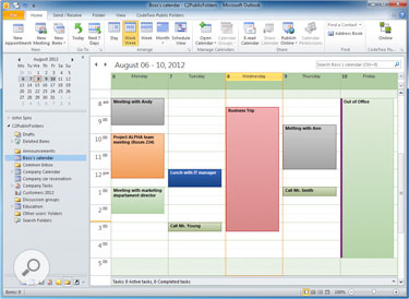 Boss's calendar in Outlook can be shared with an assistant, secretary and other employees.