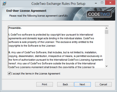 Pro 2.x - accept license agreement