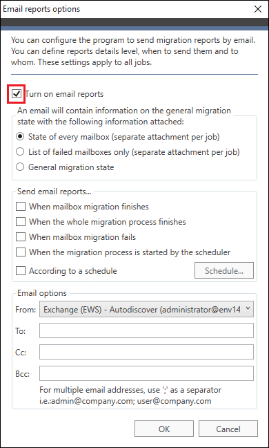 Exchange Migration - Turn on email reports
