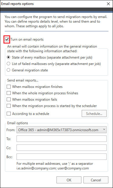 Office 365 Migration - Turn on email reports