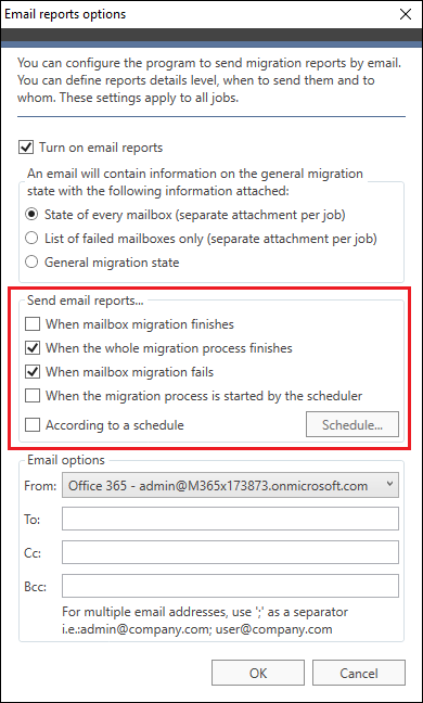 Office 365 Migration - notifications triggering