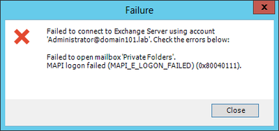 Exchange Migration - MAPI E LOGON FAIL