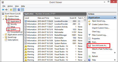 Exporting events from Event Viewer.