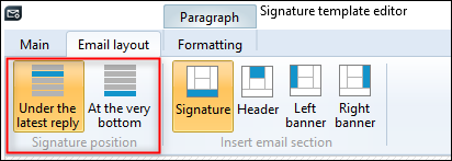 Changing signature position in the signature template editor