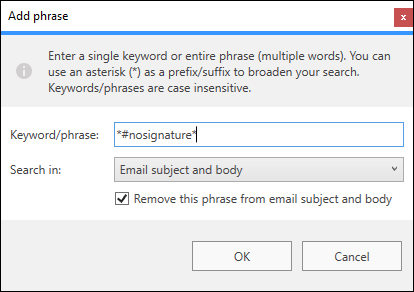 Keyword configuration options.