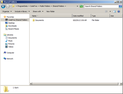 Windows Explorer containing CodeTwo Shared Folders.
