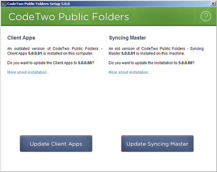 The installation/update screen of CodeTwo Public Folders.