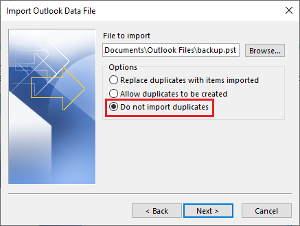 PST import options in Outlook