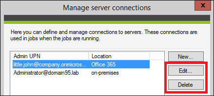 Backup - Managing server connections.