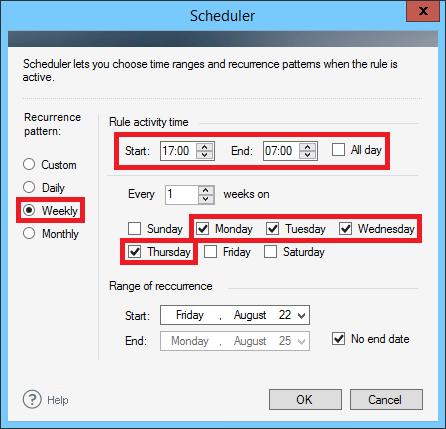 ER Pro 2.x - Setting the scheduler for weekdays.