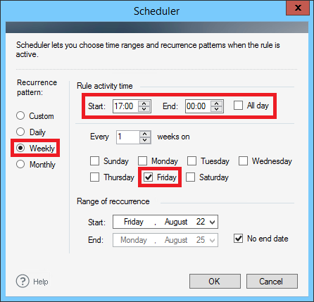 ER Pro 2.x - Setting the scheduler for Fridays.