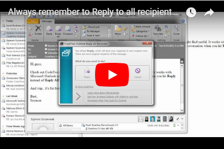 Watch the video about CodeTwo Reply All Reminder freeware