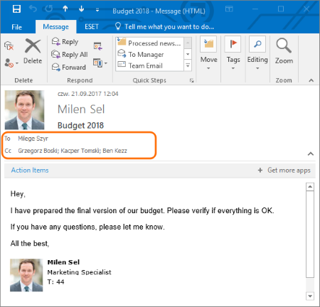 Outlook email with many recipients