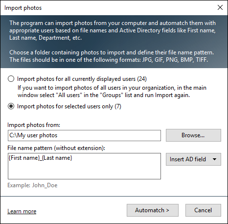 The Import photos configuration window.