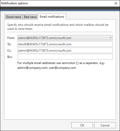 Office 365 Migration Email notifications recipient