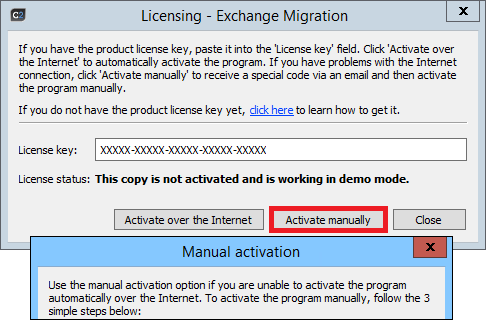 O365 Migration - Manual activation window.