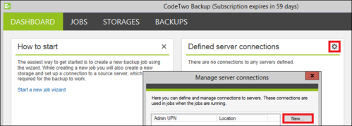 Backup - Defining server connection.